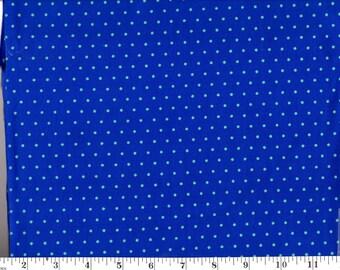 1 Yard, Mini Blue Dots on Blue