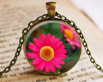Pink Daisy Flower Pendant/Necklace Jewelry, Gerber Daisy Necklace Jewelry, Flower Photo, Photo Jewelry Glass Pendant Gift