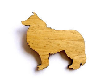 Collie Dog Brooch laser cut rough scotch collie canine