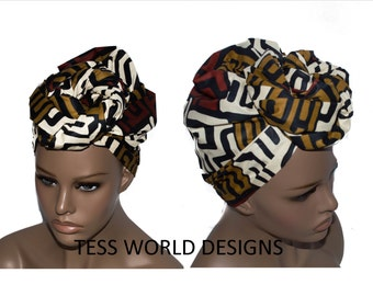 Kuba print  African head wraps/ African Head wraps/ African Hair Wraps/ African Head scarf/African Head Ties/  HT37