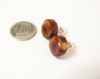 Juniper wood sterling silver stud earrings. Sterling silver ear posts.