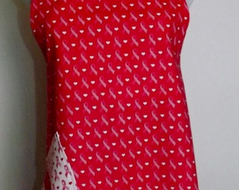 Breast Cancer Pink Ribbon Apron with ruffle