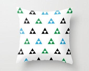 Zelda Triforce Pillow, Custom Color, Decorative Pillow, Geometric Triangles, Geometric Pattern, Home Decor, Nintendo, Link, 8-Bit