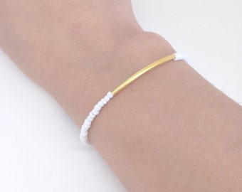 Gold Bar Bracelet - White beaded bracelet - Minimalist dainty jewelry - friendship bracelet - Gift for her