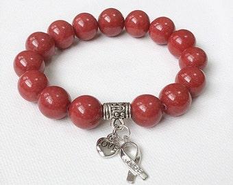 Blood Cancer Awareness bracelet, Hope ribbon, red gemstone bracelets