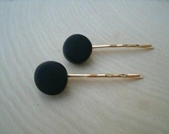 Handmade Black Polymer Clay Bead Bobby Pins