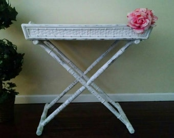 Rattan Tray Table,Rattan Side Table,Rattan Serving Tray,Folding Tray Table,Beach Cottage Serving,Shabby Serving