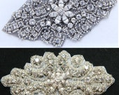 White/Black Rhinestone appliqué,Crystal appliqué, Wedding appliqué, Dress appliqué, Sash appliqué,Beaded appliqué with flower button