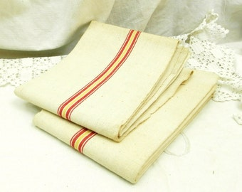 Large Unused Vintage French Linen Tea Towel with Woven Red and Yellow Stripes / French Country Kitchen Decor / French Decor / Retro Interior