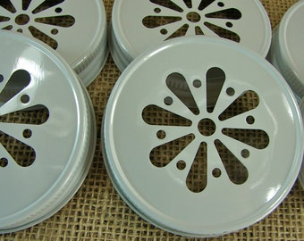 White Daisy Cut Mason Jar Lids - 6 Lids Only....DLP-6