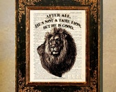 """Dictionary Page Print: -  """"Chronicles of Narnia Print"""" - He's not a Tame Lion -up-cycled book page, Lion, Witch and the Wardrobe print"""
