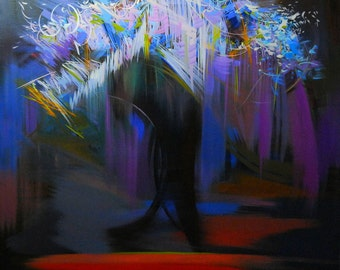 Large Canvas Art, Abstract Art Print, Blue Black Flowers Canvas Print, Modern Flower Wall Art Print Giclee