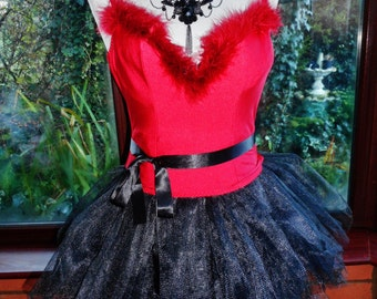 Xmas Sale -  red faux fur trimmed lycra stretch corset with short organza skirt and matching panties