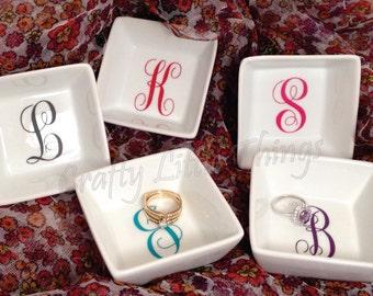 KK Monogram letter ring dish small wedding gift