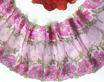 """DN606-6 """"   Embroidered  Tulle Mesh Lace /Bridal/Lolita/ Trim by Yard"""