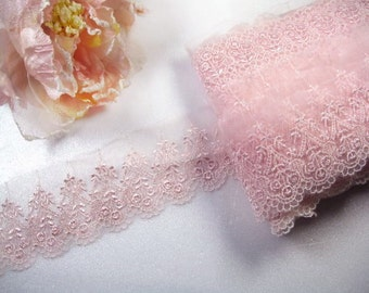 """DN053-- 2.5""""inch pink Exquisite Aged pink Chiffon~Embroidered Lace"""