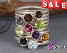 SALE 30% OFF - Natural Black Spinel Stacking Ring, Handcrafted Solid 925K Sterling Silver Gemstone Stackable Ring, Birthstone Stack Ring