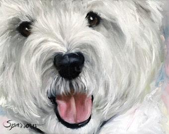 PRINT White Westie West Highland Terrier Dog Puppy Art Print Oil Painting / Mary Sparrow Smith