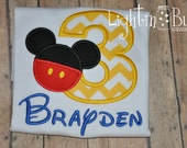 Personalized Chevron Mickey Mouse Birthday Shirt