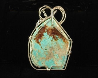 Turquoise Necklace Sterling Silver Wire Wrapped Native American Pendant Cripple Creek Colorado