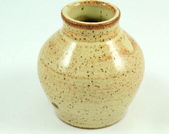 Speckled tan bud vase
