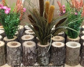 5 qty IRREGULAR Tree Branch Vase, Log Flower Holder, for Rustic Weddings, Country Weddings, Rustic Center Piece, Rustic Wedding Supplies