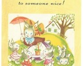 River Spring blank note card, kitties, rabbits, thank you to someone nice, mother kids sweet home daycare cat bunnies appreciation card