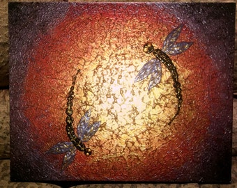 Signed Pre-Stretched Giclee PRINT On CANVAS of Original Gold Textured Dragonfly Painting - Dragonflies At Dawn - Customer Chooses Size