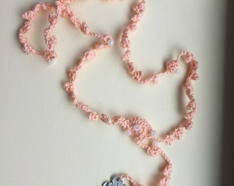 Peach (#8) crocheted rosary