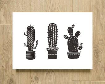 Cactus print - Black and white cactus poster - Black and white print - kitchen print - kitchen poster - Flowerpot print - Plant decor