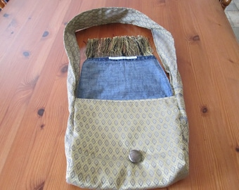 Shoulder bag handmade from beautiful Cambodian  fabric fully lined with denim cotton.