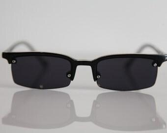 Vintage 1990's Crystal Black, Rimless  Frame Sunglasses, Dark Lenses.