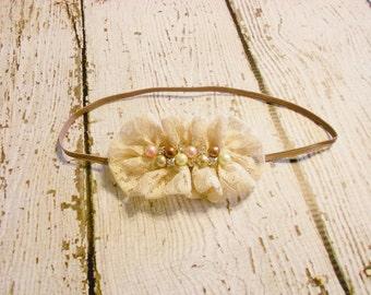 Lace Ruffle Pearl and Rhinestone Headband-Beige-Newborn to Adult