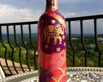 Custom Lokta Paper Decoupage on Wine Bottle, Decoupage on Glass Bottle, Collage on Glass Vase