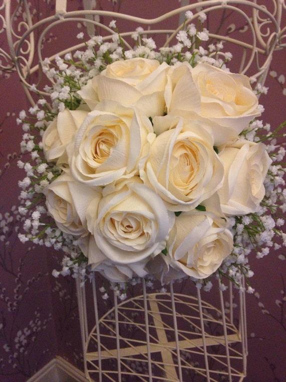 Bouquet de mari e de fleurs de soie artificielle mari e roses - Bouquet de rose artificielle ...