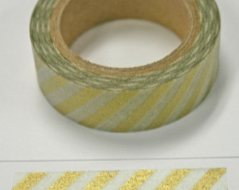 Gold and Vellum Candy Cane Stripe Washi Tape
