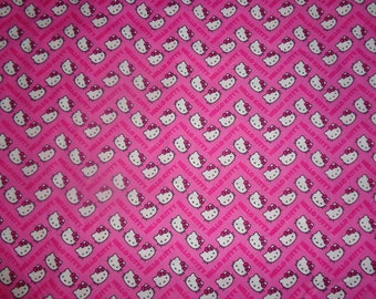 Pink Chevron Hello Kitty Fabric by The Yard