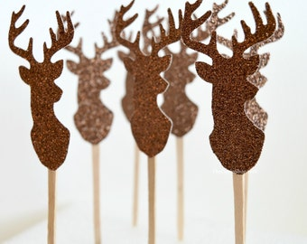 Cupcake Toppers - Glitter Deer Buck Heads - Dessert Toppers - Buck and Doe Food Picks - Sandwich Picks - Birthday Party - Country Weddings