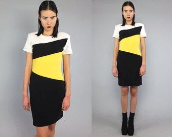 Vtg 90s Color Block Minimal Bandage Mini Dress S M