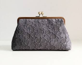 Grey Lace Clutch, Mother of the bride, READY TO SHIP, Last One, Style C003