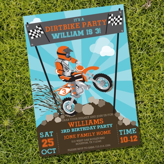 Dirt Bike Party Invitation Motorbike Motocross