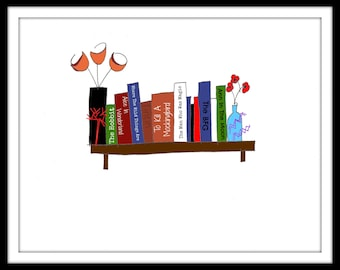 """Digitally Coloured Illustration: """"My Childhood Island"""" - Pen and ink blind contour drawing of books on a shelf. Customisable. A4"""