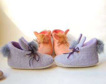 Lilac Rabbits felted slippers for kids -felted wool house shoes-handmade gift for toddler-eco living (list for one pair)