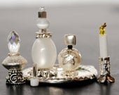 Handmade Dollhouse Miniature Vanity/Toiletries, Miniature Perfume, Dollhouse Mini Bottles, Mini Perfume, Silver and White Set