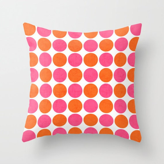 Pink And Orange Decorative Pillows : Orange and Hot Pink Dots Throw Pillow by LushTartArtProject