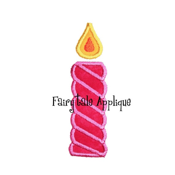 Digital Machine Embroidery Design -  Birthday Candle Applique