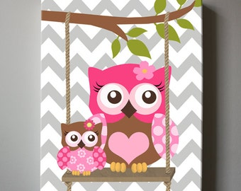 Pink and Brown Nursery Owl Canvas Art Nursery Decor - Girls wall art - OWL canvas art, Baby Girl Nursery Art