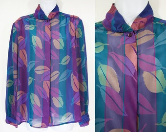 10 Dollar Sale---Vintage 80's HABERDASHERY by PERSONAL Leaf Pattern Sheer Blouse M
