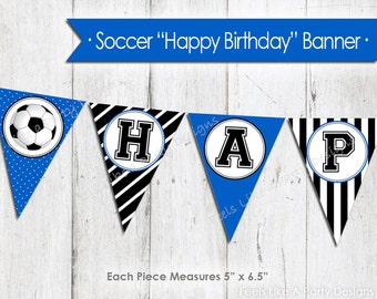 Blue Soccer Happy Birthday Banner - Instant Download