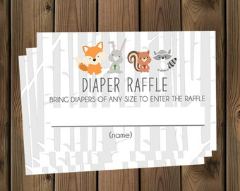 Forest Animal Diaper Raffle Tickets Digital File, IMMEDIATE DOWNLOAD